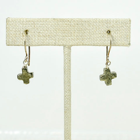 Pyrite Cross Earrings on Oxidized Silver Tops