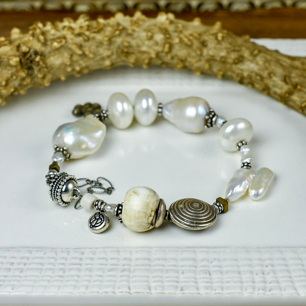 Large Fresh Water Pearl with Conch Shell Detail