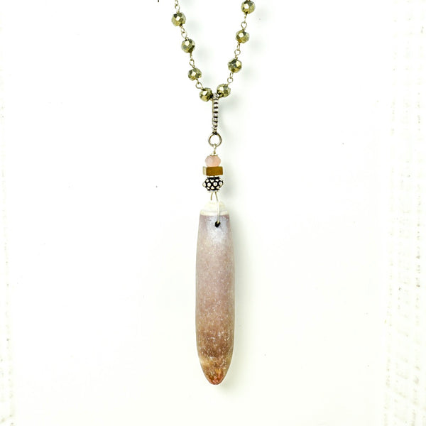 Sea Urchin Pendant with Mia Pyrite Necklace