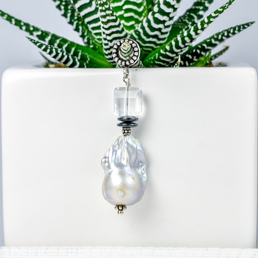 Large Freshwater Pearl with Crystal Pendant