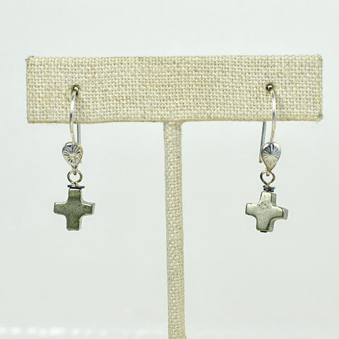 Pyrite Cross Earrings on Sterling Silver Tops