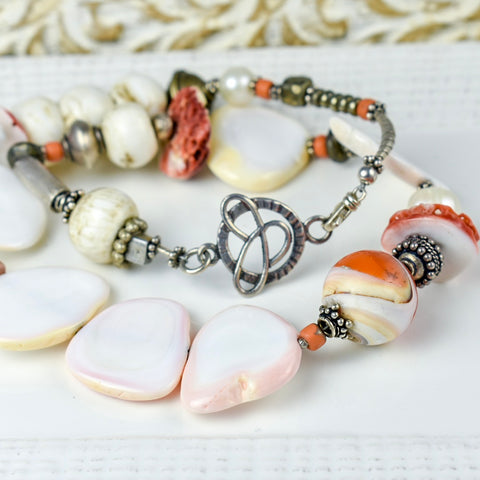 Coral and Bone Statement Necklace