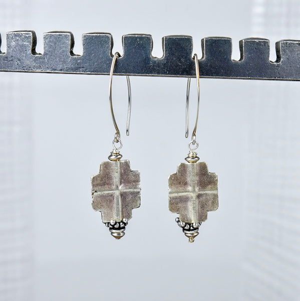 Thai Silver Cross Earrings on Silver Hook Tops