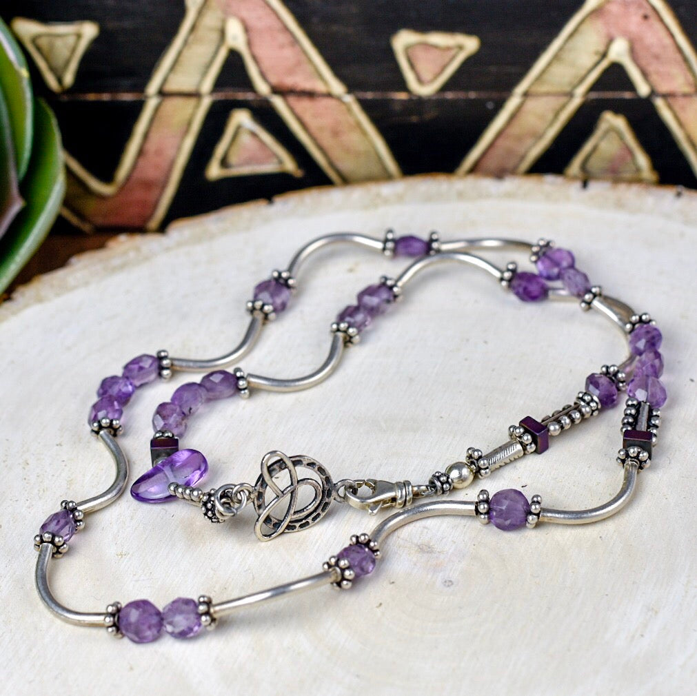 Curly Thai & Amethyst Necklace
