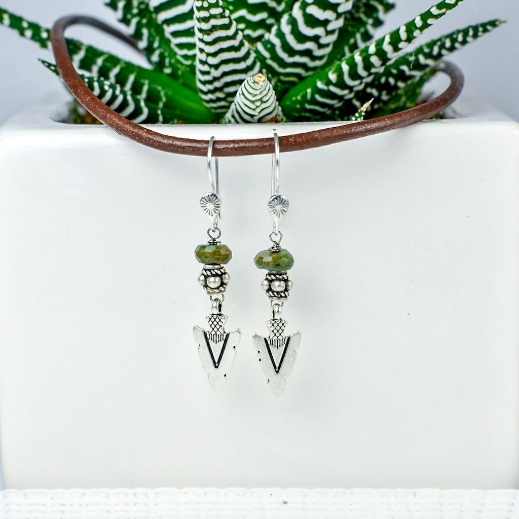 Arrowhead Earrings with Green Peruvian Opal