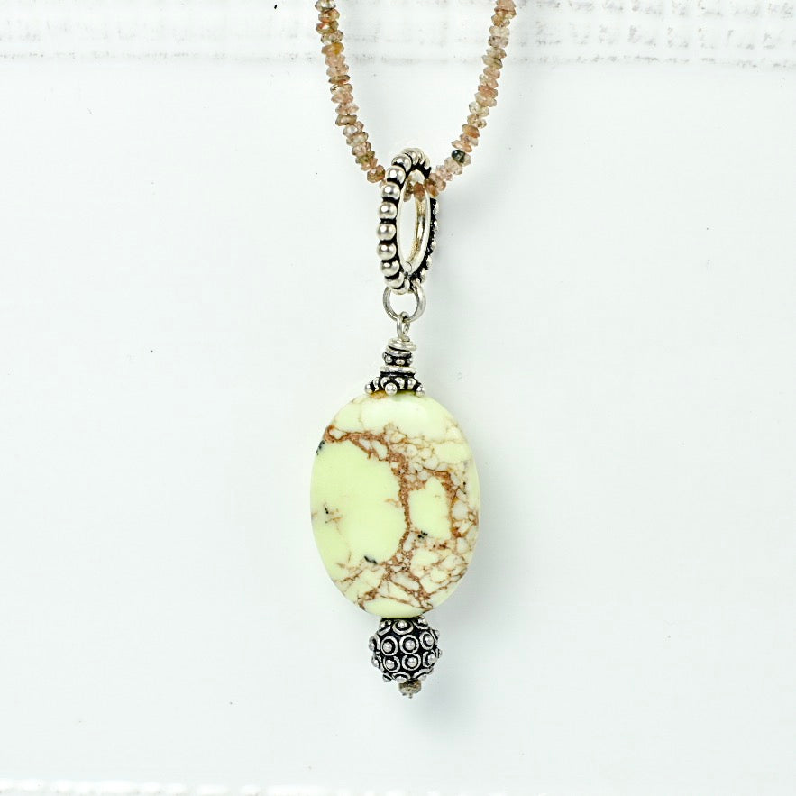 Oval Green Agate with Bali Silver Detail