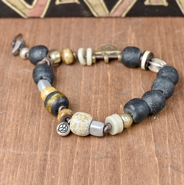 MEN'S! Recycled Glass on Leather Bracelet