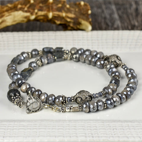 Gray Moonstone with Pave Diamonds