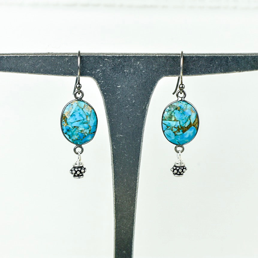 Oval Bezel-Set Turquoise Earrings