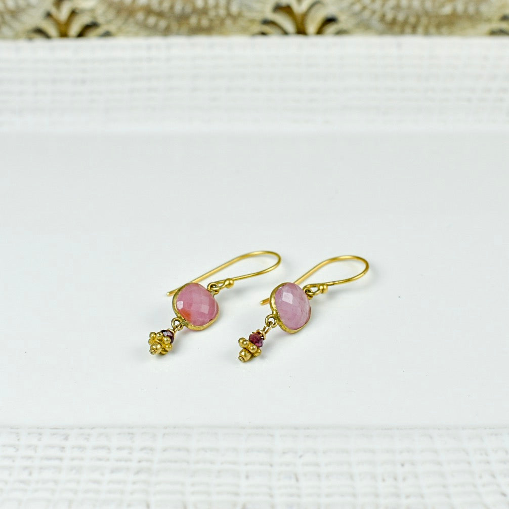 Pink Agate Drops on Gold Top Earrings