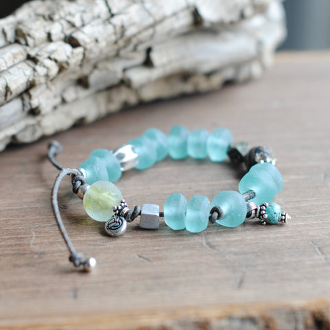 Light Aqua Recycled Glass Bracelet