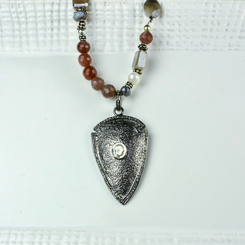 Blush Moonstone & Pearl with Diamond Arrowhead