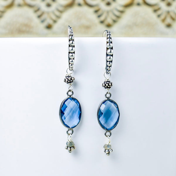 Bezel-Set Iolite Earrings