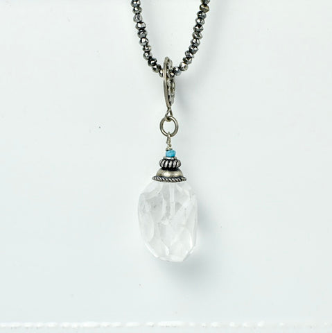 Faceted Crystal Drop with Turquoise Detail