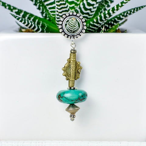 Turquoise and Brass Baule Bead Pendant