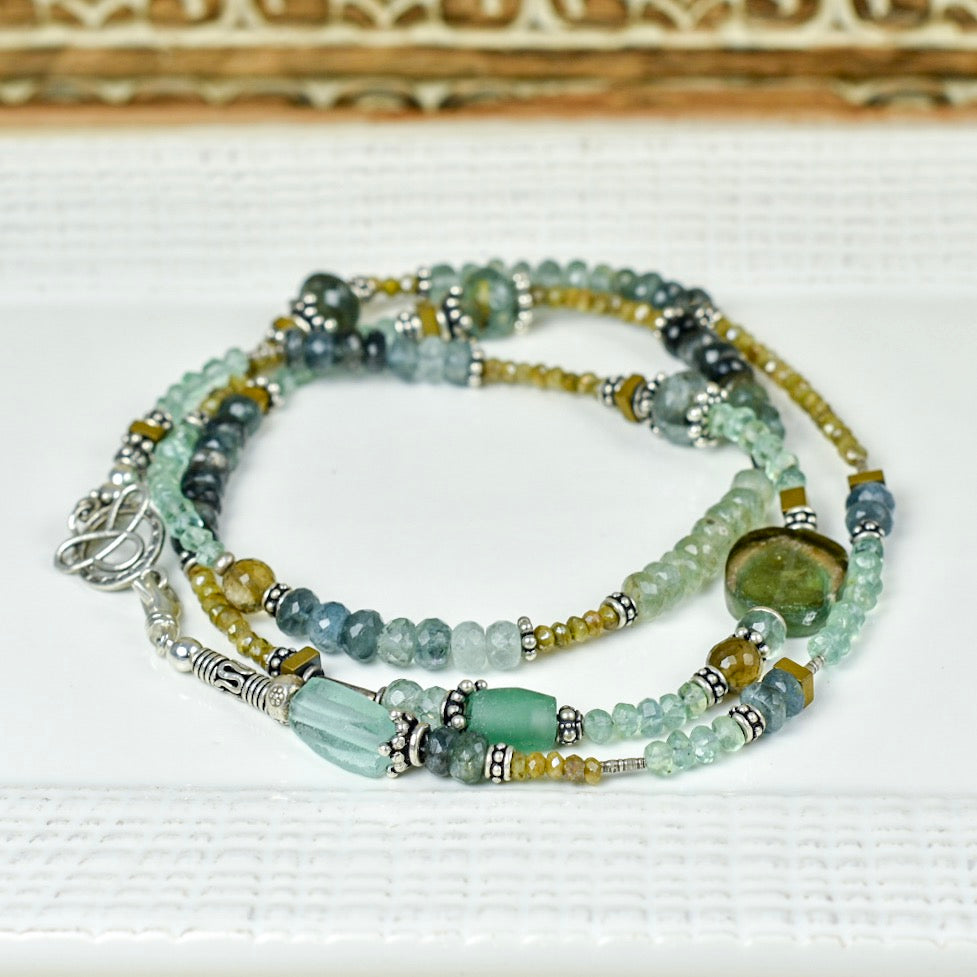 Aquamarine, Cactus Silverite & Roman Glass Necklace