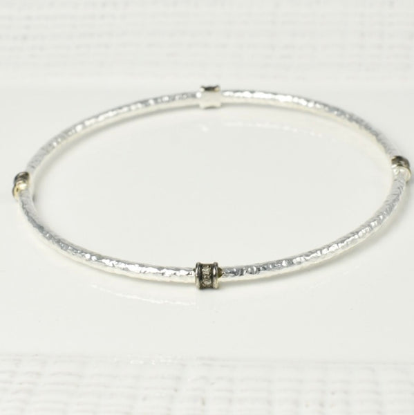 Silver and Pave Bangle