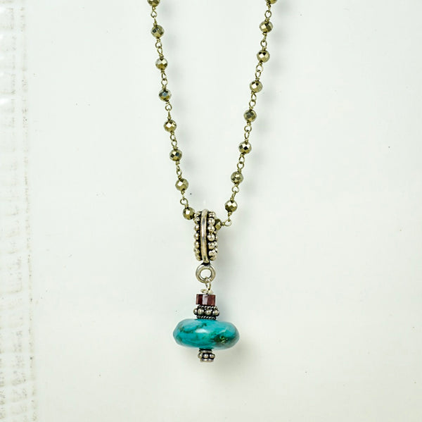 Turquoise Pendant with Mia Pyrite Necklace