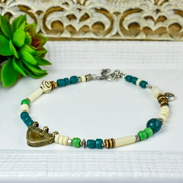 Teal, Green and Cream Ankle Bracelet