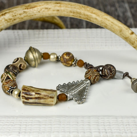 MENS Bone & Etched Stone Bracelet