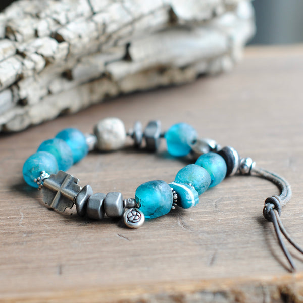 Dark Aqua Recycled Glass Bracelet