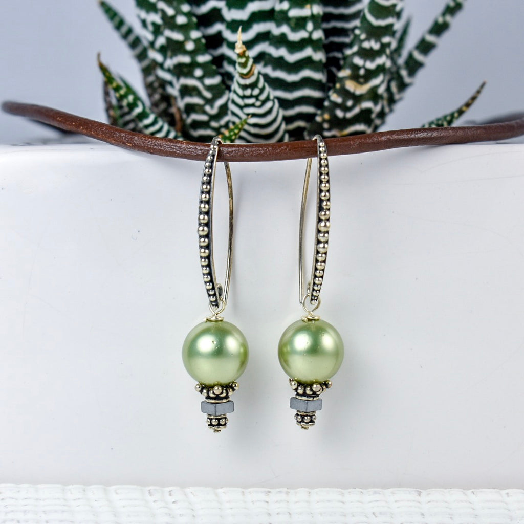 Green Pearl on Sterling Silver