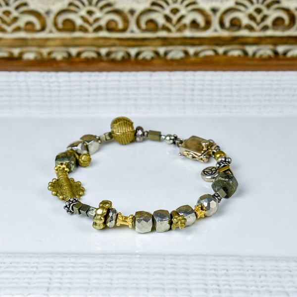Hematite and Pyrite Bracelet with Brass Details