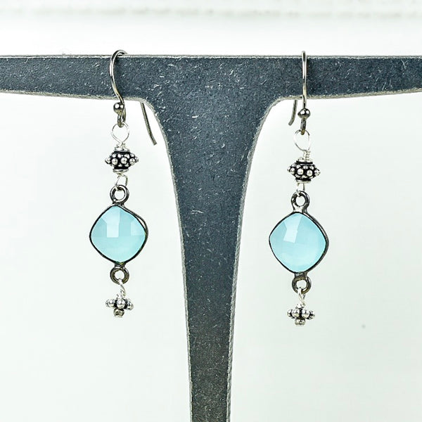 Small Chalcedony Drop Earrings
