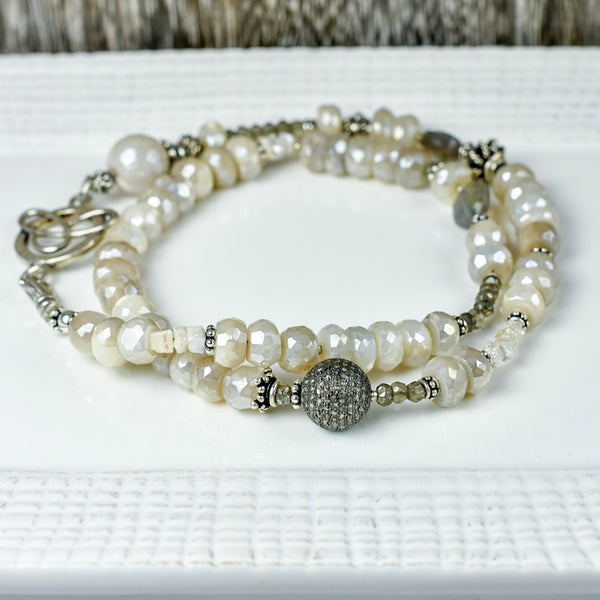 White Silverite with Pave Diamond Necklace