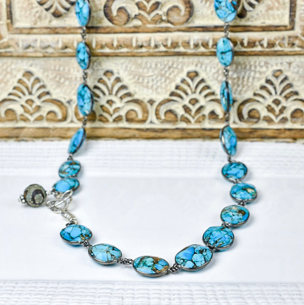 Oval Bezel-Set Turquoise Necklace