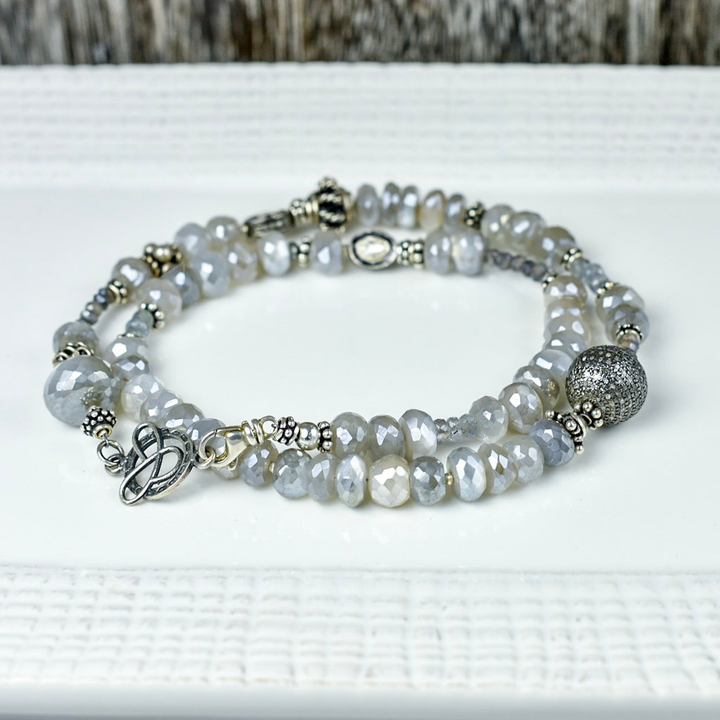 Gray Moonstone with Pave and Silved Diamond Necklace