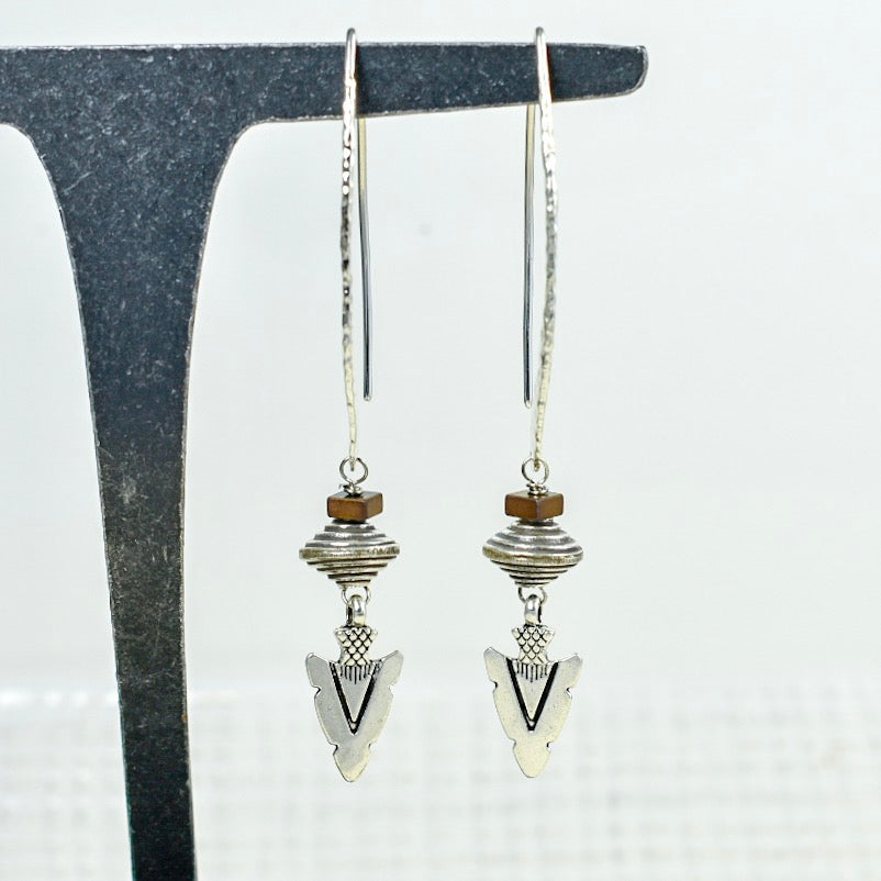Arrowhead Earrings on Long Hammered Tops