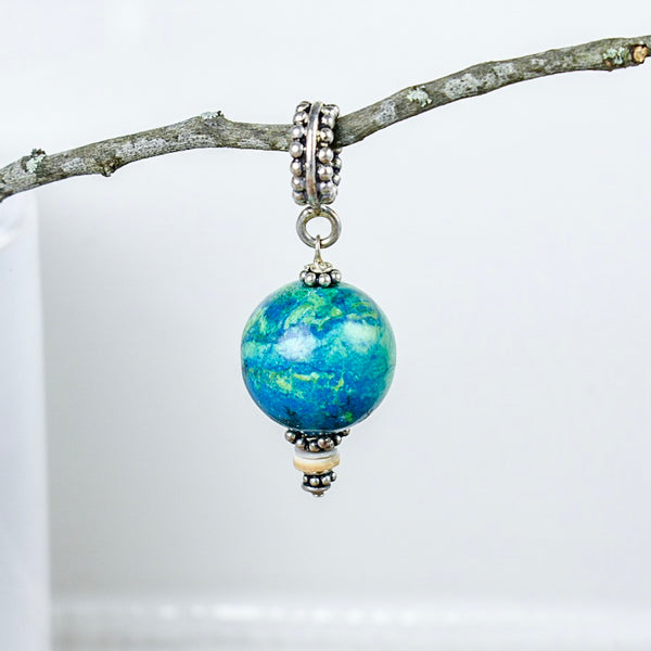 Green and Blue Marbled Agate Pendant