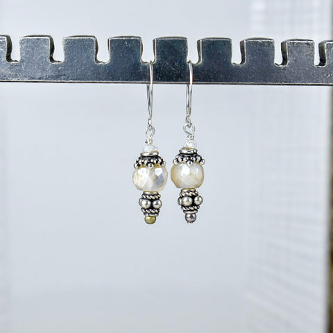 White Moonstone on Silver Hook Tops