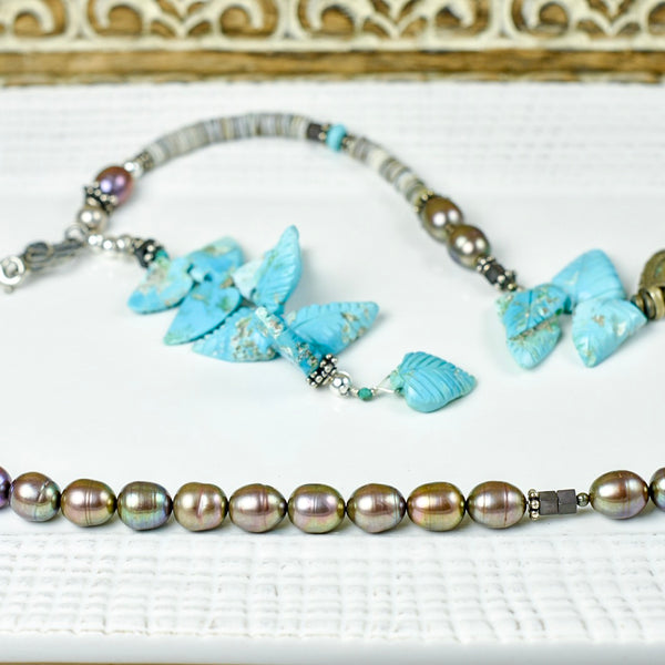 Fresh Water Pearl and Carved Turquoise Feather Necklace
