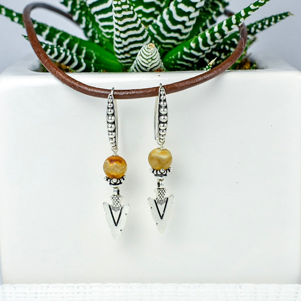 Arrowhead Earrings with Tan Tibetan Agate