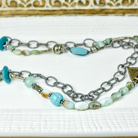 Long Blue Opal Artisan Necklace with Mod Chain