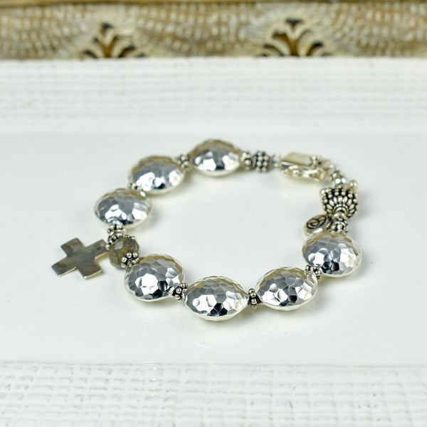 Thai Pillow Bead Bracelet with Silver Cross