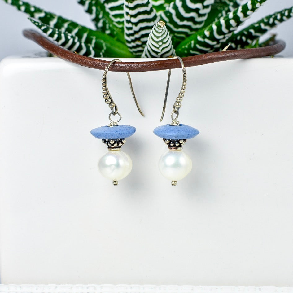 Blue Ashanti Glass and Pearl Earrings