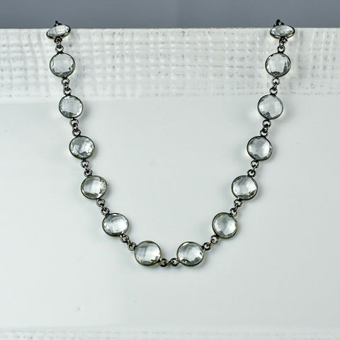 Round Bezel-Set Crystal Necklace