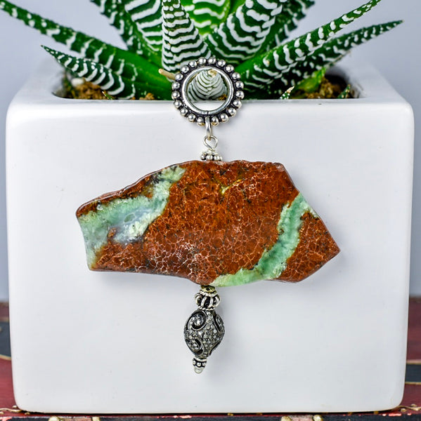 Chrysoprase Pendant with Pave Drop