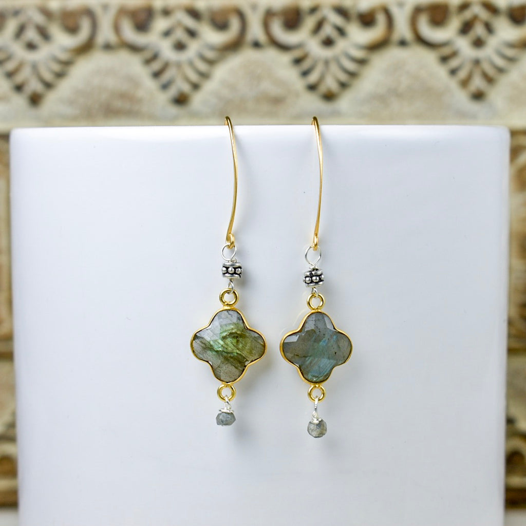 Labradorite Quatrefoil Earrings