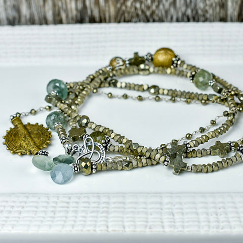 Hematite, Moss Aqua & Pyrite Necklace