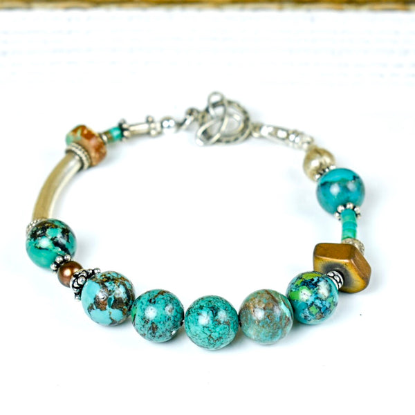 Turquoise Sphere with Thai Silver Bracelet