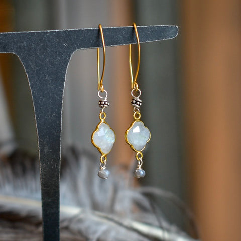 Moonstone Quatrefoil Earrings