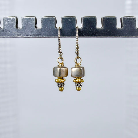 Silver Cube with Gold Detail Earrings