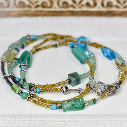 Long Aquamarine, Cactus Silverite & Roman Glass Necklace