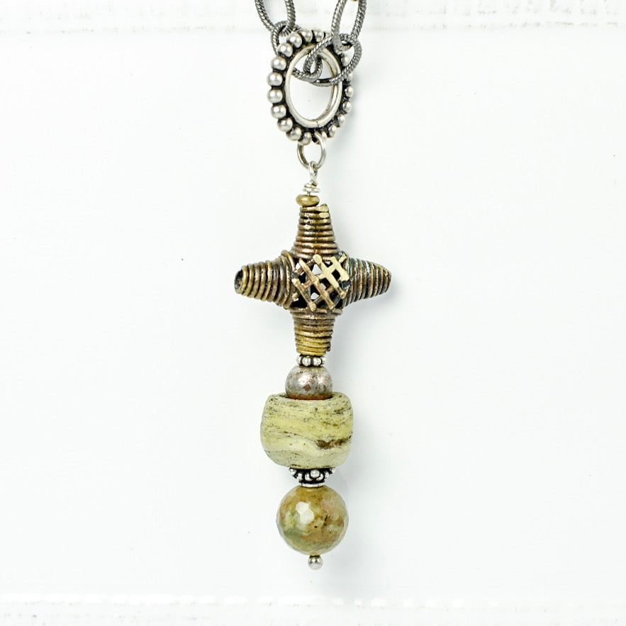 Brass Filigree Cross with Hebron Bead