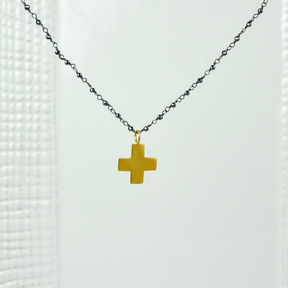 Mia Hematite with Cross Pendant