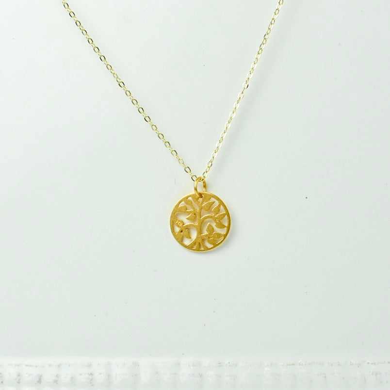 Gold Chain with Tree Pendant